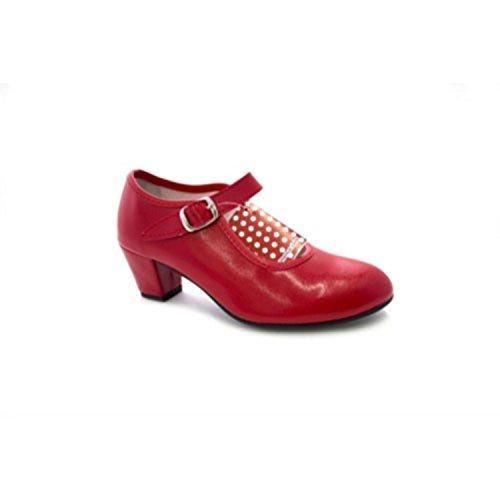 Zapato Baile sevillanas Flamenco para niña o Mujer Danka en Rojo T1554 Talla 18