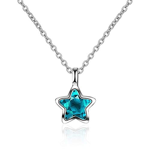 925 Sterling Silver Romantic Cute Blue Star Shine Crystal Pendant Necklace Pentagram for Women Lady Gift Wedding 2019