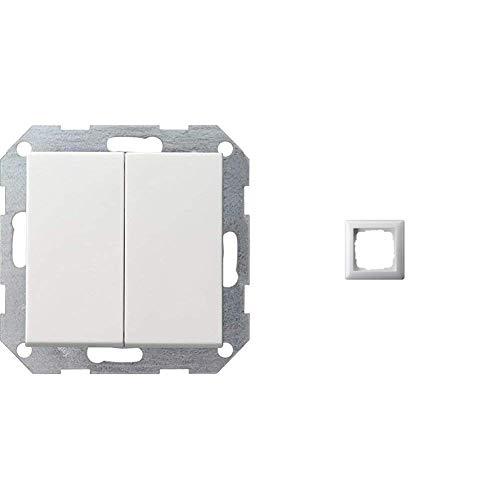 Gira 012503 Tastschalter Serien System 55, reinweiß & 021103 Rahmen 1-fach ST55, reinweiß-glänzend