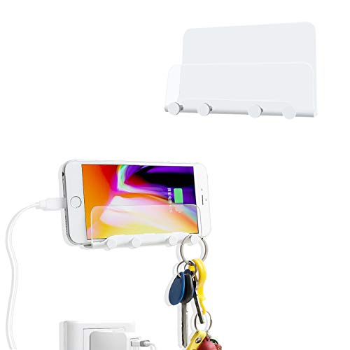 WISMURHI Soporte de Pared para Teléfono, Soportes de Pared Autoadhesivo con Gancho y Agujero de Carga Compatible con Smartphones/Almohadilla eReader/Tabletas para Baño/Cocina/Oficina/Coche(Blanco)