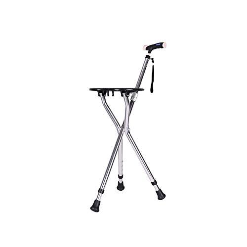 Con asiento ajustable altura trípode bastón 2 en 1 plegable silla bastón para caminar, adecuado para personas mayores