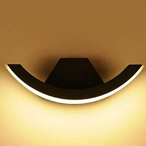 ZQH Led-wandlamp, creatief boog-wandlamp, IP54, waterdicht, voor buiten, wandlamp, ingang terras, tuinverlichting, externe decoratieve verlichtingsarmatuur, 8 W, 3000 K, warm licht