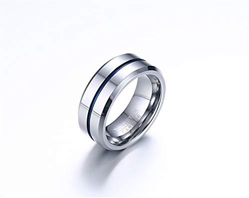 8MM de tungsteno sala de acero anillo azul anillo de los hombres de la moda de los hombres de la joyería del anillo de la joyería de los hombres Partido Jewelr ( Color : (blue ribbon) , Size : 10 )