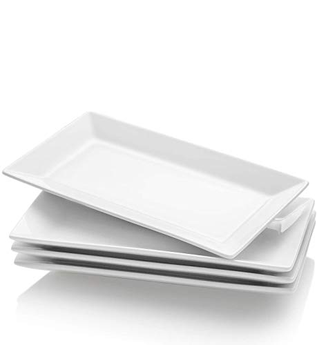 Krockery Porcelain Serving Plates, Rectangular Serving Trays for Parties - 9.8 Inch, White, Set of 4