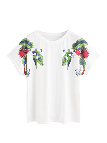 SweatyRocks Women's Casual Summer Tops Floral Embroidered Short Sleeve T Shirt