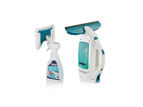 Leifheit Set de aspirador limpiacristales Dry & Clean con spray limpiador, limpiaventanas para una limpieza 360º sin marcas, aspiradora vertical