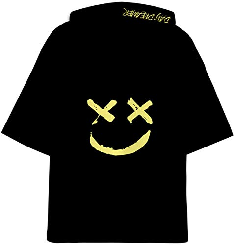OLIPHEE DJ con Estampado 3D Camisetas con Capucha Be Happy Hip Hop Manga Corta para Hombre Huang-1