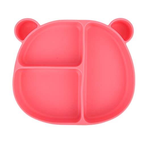 Plato para bebé de plástico integrado, plato de tazón para bebé antideslizante de alimentación sólida con forma de oso(Plato de succión rosa)