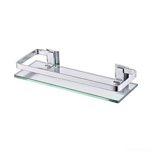 ZhanMaGS Estante de baño de cristal con riel de aluminio para baño rectangular de ducha, organizador montado en la pared, 35 cm 0919