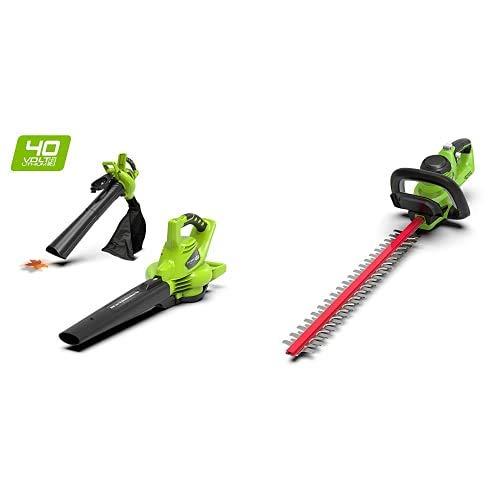 Greenworks Akku-Heckenschere G40HT + Tools 24227 Greenworks 40V Akku-Laubbläser und Sauger, 40 V