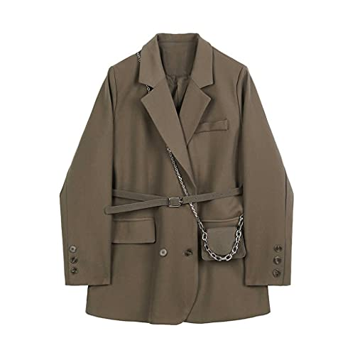 NSWT Chaqueta de gran tamaño con bolsillo marrón para mujer, nueva solapa, manga larga, chaqueta holgada, moda, marea, primavera, otoño (Color : Dark Brown, Size : M code)