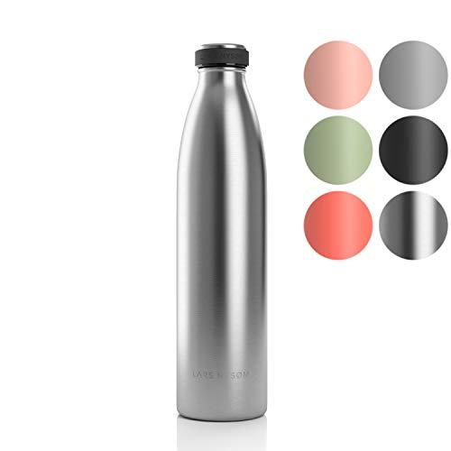 LARS NYSØM Edelstahl 1 Liter Trinkflasche | BPA-freie Isolierflasche 1000ml | Auslaufsichere Wasserflasche für Sport, Fahrrad, Hund, Baby, Kinder (1000ml, Stainless Steel)
