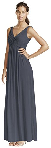 David's Bridal Long Mesh Bridesmaid Dress with Cowl Back Detail Style F15933, Pewter, 10