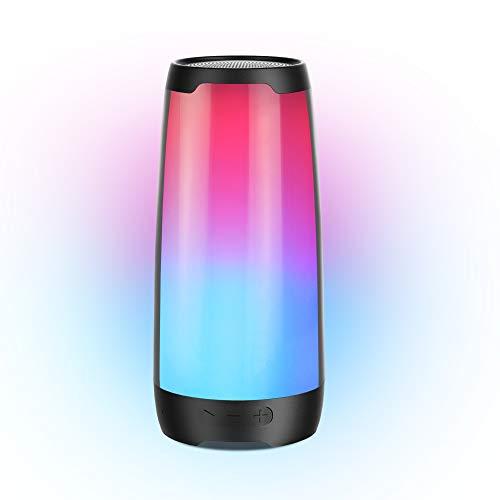 Bluetooth Speaker, BUGANI Nebula 100 Portable Wireless Waterproof Speaker with Lights,6 Color LED Themes,Rich Woofer, Stereo Loud,TWS Dual Pairing Speaker- Black
