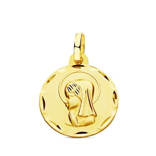 J.LUIS Medalla Virgen Niña de Oro 18K Colgante de Mujer para comunión Bautizo o Nacimiento Acabado Mate y Cortes de Brillo tamaño 17 mm