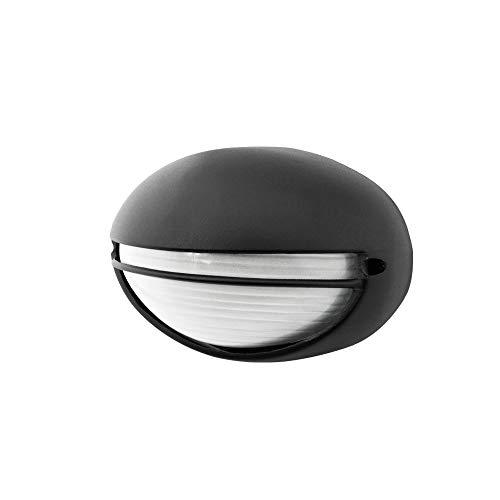 Plafón exterior ovalado con visera negro 60W E27