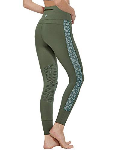 FitsT4 Reithose Reitleggings Damen mit Silikon Kniebesatz und Gürteltasche, elastische REIT-Tights mit bedrucktem MESH-Gewede an Hosenbein für Reitschule Reitsport, Olivengruen (Zypresse), Gr. L