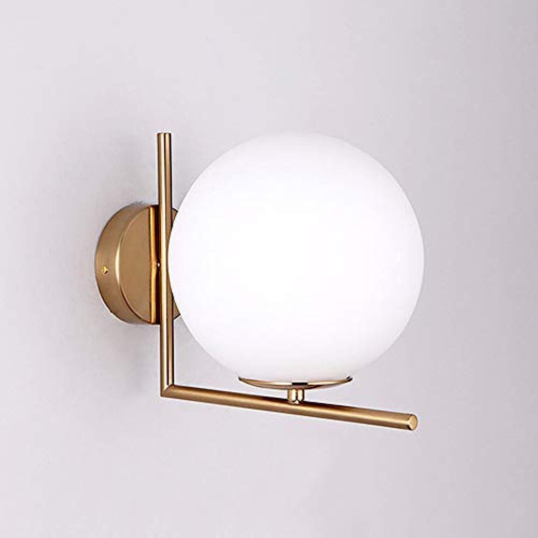 Moderne Wandlampe LED Nachttischlampe Leselicht, Licht Luxus Hotelzimmer Galvanik Gold Luxus Glaskugel Wandleuchte (1  E27),20Cm