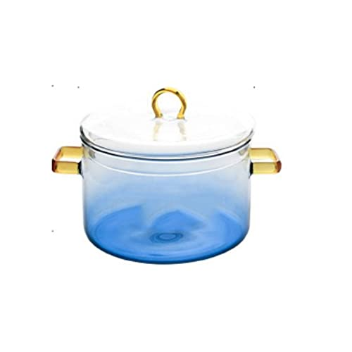 WangchngqingW Bowls, Glass Saucepan With Cover,The Best Handmade Glass Cookware Set Cooktop Safe for Pasta Noodle, Soup, Milk, , Blue Gradient,Bowl Diameter 5.5 Inches