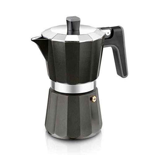 BRA Perfecta Black - Cafetera Italiana Inducción, Aluminio, Capacidad 6 tazas, color negro
