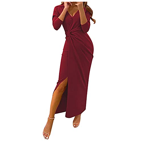 Zldhxyf Vestido de noche para mujer, largo con abertura lateral, vestido de fiesta, de manga larga, monocolor,...