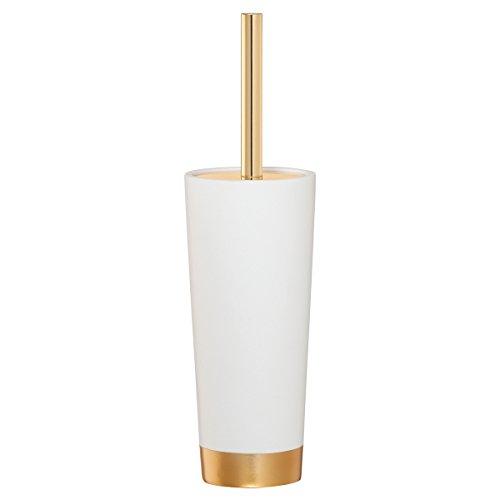Sealskin 362320549 Toilettenbürste Glossy, WC-Bürstengarnitur aus Acryl, Farbe: Weiß - Gold, 33.7 x 9.5 x 9.5 cm