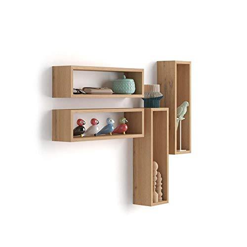 Mobilifiver Wandregal Cubo 4er-Set, Iacopo, Laminat, Wotan Eiche, 59 x 14,5 x 17 cm