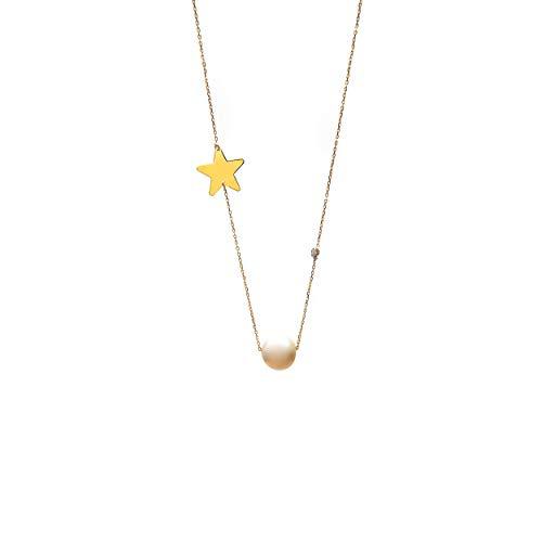 Lumarigold Gouden dameshalsketting 585 14 k goud geelgoud ketting met hanger ster zoete waterparel briljant gravure