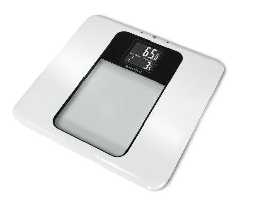SALTER Goal Tracker Badkamerweegschaal, gewicht meten, laatste meting vergelijken, verschil berekenen, 8 gebruikersopslag, gemakkelijk leesbaar digitaal display, goede fitness motivatie