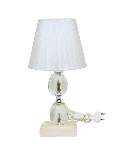 Lampe de table base en bois et cristal – abat-jour tissu organza plissé – Couleur blanc H 33 cm