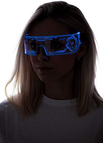 Cyberpunk LED-Visierbrille – perfekt für Cosplay und Festivals – Cybergoth – Cyberpunk-Brille, Blau (Htc01-blau), Einheitsgröße