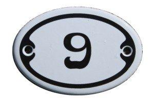 Nummer 9 Mini Emaille Schild Jugendstil ca. 4,2 x 6,2 cm Türschild Zimmer Schublade Schrank Kommode Emailschild oval weiß
