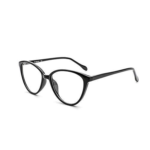 OQ CLUB Gafas para Mujer de Moda Minimalismo Bloqueo Luz Azul Ojos de Gato Estiloso Lente Clara (Negro Brillante)