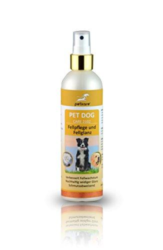 Peticare Fellpflege Spray für Hunde - Fell-Wachstum, anhaltender Seidenglanz, Schutz vor Verschmutzung, Austrocknen, fördert Regeneration beim Deckhaar, Schutzfilm für Haare - petDog Care 2102