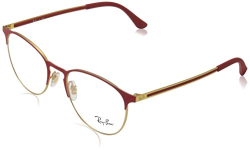 Ray-Ban RX6375 Metal Round Prescription Eyeglass Frames, Matte Red On Rubber Gold/Demo Lens, 55 mm