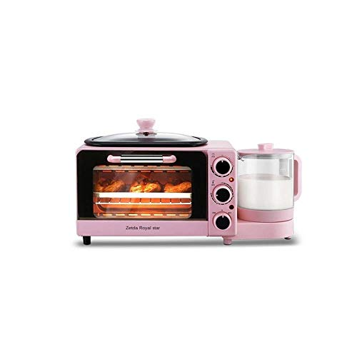KLYHCHN Toaster whall Stainless Steel Function, Removable Crumb Tray, Toast Evenly and Quickly for Various Bread Types 220V Mini Household Four-in-One Automatic Oven Toaster Breakfast Pink