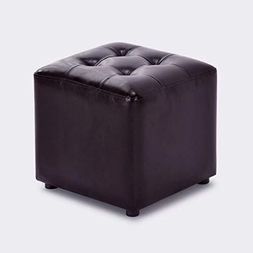 Pouf en cuir PU Pouf en forme de Cube Repose-Pied Bois Simple Maison Moderne Salon Salon Chambre Petit Canapé Tabouret pour Table Basse Coiffeuse (Couleur : Marron foncé)