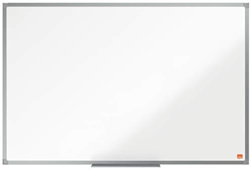 NoboPizarra Magnética de Acero Vitrificado, 900 x 600 mm, Marco de Aluminio, Fijado a la Pared con Montaje en las Esquinas, Bandeja para Rotuladores, Gama Essence, Blanco, 1915451