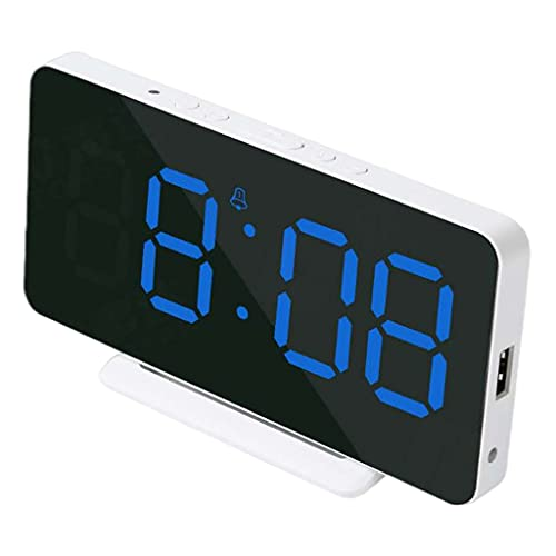 MagiDeal LED Reloj Despertador Digital Temperatura Fecha Hora Pantalla Escritorio/Tejido de Pared Disponible Snooze Modo Fin de Semana USB Fotosensible para - Azul