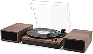 LP&No.1 Retro Bluetooth Record Player with Stereo External Speakers, 3-Speed Belt-Drive Turntable for Vinyl Records with Bluetooth Receiver and Auto-Stop, Walnut