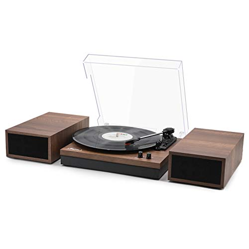 LP&No.1 Retro Bluetooth Record Player Turntable with Speakers, 3-Speed Belt-Drive Turntable for Vinyl Records with Bookshelf Speakers, Bluetooth Input and Auto-Stop, Walnut Wood