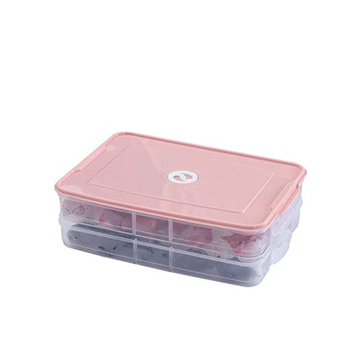 FEIYUANTONG Refrigerator Food Storage Box Kitchen Accessories Storage Box Fresh-keeping Box Dumpling Vegetable Egg Rack Stackable Microwave (Color : Pink)