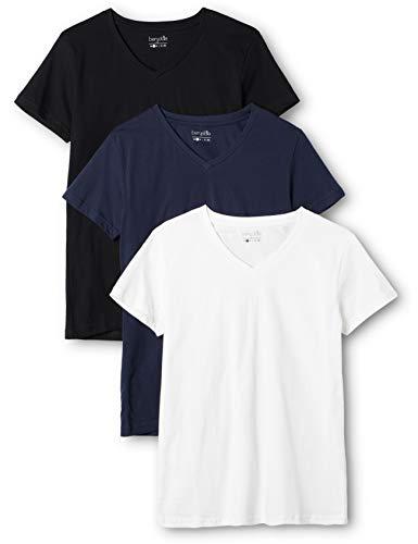 Berydale Damen T-Shirt mit V-Ausschnitt, 3er Pack, Mehrfarbig (Dunkelblau/Weiß/Anthrazit - 3er Pack), Small