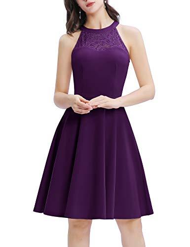 Bbonlinedress Damen Cocktailkleid Elegant Kleid Abendkleider Rockabilly Kleid Retro Vintage Neckholder Hochzeitskleider Grape XS