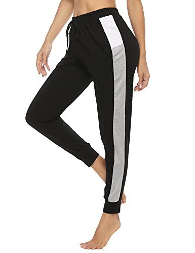 Akalnny Pantalones de Deporte para Mujer Pantalones de chándal a Rayas con Bloques de Color Pantalones Deportivos al Aire Librepara para Mujer para Gimnasio Yoga Jogging(Negro, L)