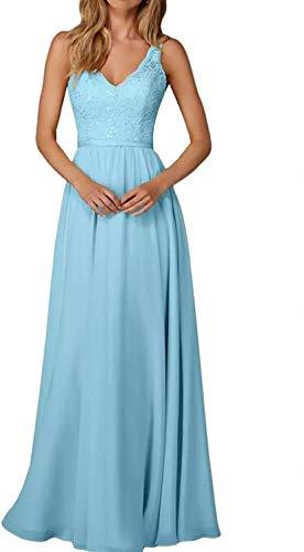 CLLA dress Damen Chiffon Abendkleider Lang Partykleider Transparenter Ausschnitt Festkleider Ballkleider Brautjungfer Kleider(Blau,42)