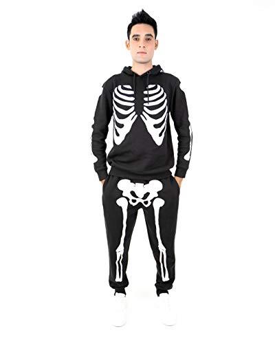 NOROZE Herren Halloween Skelett Trainingsanzug Kapuzenpullover Pullover Jogger Unisex Set Jogginganzug (M, Skelett Schwarz)