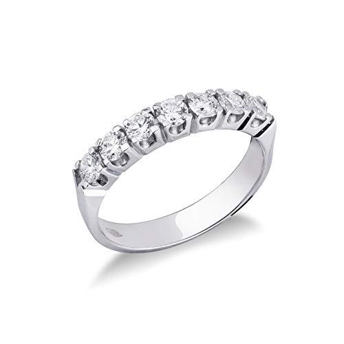 Gioielli di Valenza - Anello veretta a sette pietre in Oro bianco 18k con Diamanti ct. 0,70 - FE7RA070BB - 9