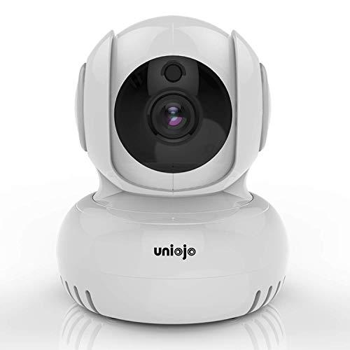 Überwachungskamera, UNIOJO schwenkbare Baby/Haustier/Temperatur Monitor 1080P WiFi Innenkamera, IR Nachtsicht mit Bewegungserkennung, unterstützt TF Karte, Cloud-Speicherung Mit Server in Frankfurt