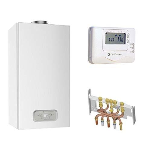Chaudière Gaz BasNox Inoa Nox Chaffoteaux 25 kW/Cheminée Complète (Douilles + Dosseret) avec Thermostat Filaire